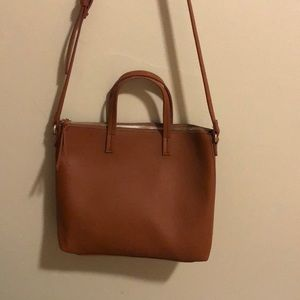 NWOT brown faux leather crossbody bag